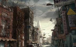 Обои дорога, рисунок, город