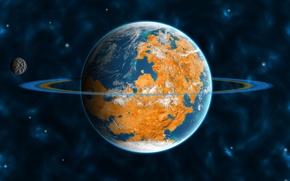 Картинка вселенная, планета, спутник, кольца, орбита