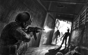 Обои коридор, солдат, автомат, зомби, шлем, калашникова, спецназ, департамент, с терроризмом, по борьбе