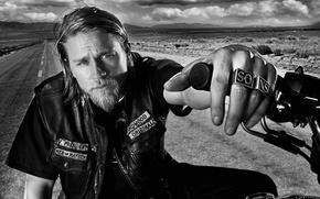 Картинка сериал, байкер, актёр, мотоциклист, Charlie Hunnam, Sons of Anarchy, Чарли Ханнэм, Сыны анархии