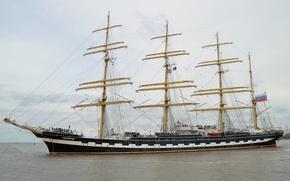 Картинка судно, Крузенштерн, учебное парусное, четырёхмачтовый барк