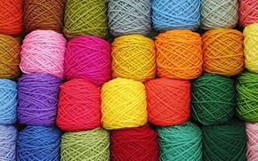 Картинка фон, текстура, разноцветный, клубки, разнообразие, пряжа, wallpaper., нитей, танов, цветных, оттенков, собранные