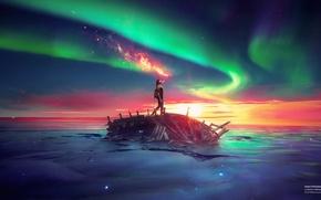 Картинка green, world, light, fire, ice, black, sky, sunset, blue, water, glow, desktopography, stars, alone, sunrise, ...