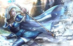 Картинка девушка, снег, арт, Crystal Maiden, Dota 2, Rylai