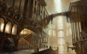 Обои люди, лестница, свет, здание
