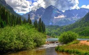 Картинка лес, небо, вода, горы