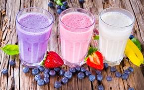 Обои ягоды, черника, клубника, фрукты, банан, banana, strawberry, blueberry, fruits, berries, milkshake, молочный коктейль