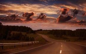 Картинка дорога, лес, небо, горизонт, просёлочная