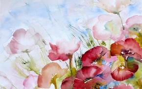 Обои цветы, стиль, картина
