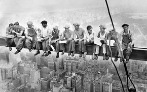 Обои балка, new york, отдых, здание, город, перекур, небоскреб, история, рабочие, фото, перерыв, высота