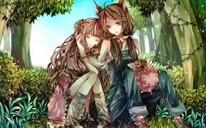 Обои двое, мир, обьятия, сказачный, лес