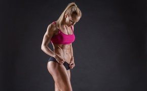 Обои model, blonde, pose, fitness, abs, sportswear, toned body, healthy food, healthy living, sculpted, Bodybuilder, vitamin ...