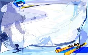 Картинка абстракция, обои, спуск, лыжи, вектор, очки, лыжный спорт, skiing