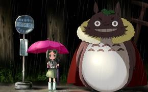Обои ночь, зонтик, дождь, розовый, зонт, девочка, мой сосед тоторо, my neighbor totoro, остановка, tonari no ...