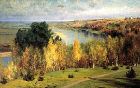 Обои осень, река, рисунок