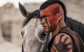 Картинка wallpaper, man, leather, animal, horse, indian, warrior, mane, war paint, riding, saddle, equine, native american, …