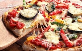 Обои Italian cuisine, Pizza, bell pepper, eggplant, горький перец, onion, диетическая, болгарский перец, hot pepper, овощная, ...
