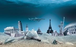 Обои underwater, ocean, travel, world, seashells, море, дно