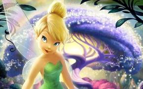 Картинка лес, дерево, волшебство, мультфильм, крылья, звёзды, Феи, фея, искры, блондинка, magic, tree, movie, Колокольчик, Walt ...