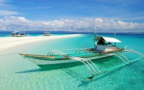 Картинка море, пляж, каноэ