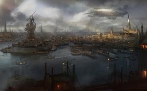 Картинка вода, город, дым, вид, корабли, арт, дирижабль, статуя