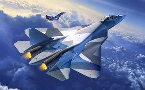 Картинка самолет, истребитель, арт, Т-50, ВВС, поколения, пятого, ОКБ, российский, многоцелевой, Сухого, комплекс, Су-27, ПАК ФА, …