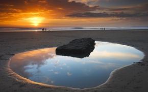 Картинка вода, закат, Берег