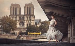 Обои танец, мост, девушка