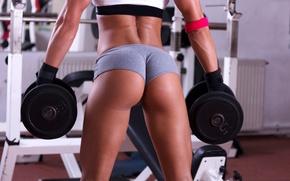 Обои dumbbells, gym, model, hot, fitness, sexy, ass, butt