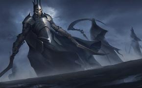 Обои оружие, скелет, смерть, арт, доспехи, Death, броня, фантастика