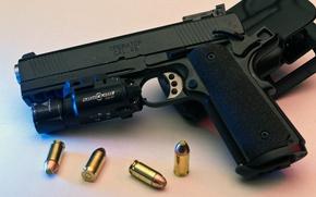 Картинка пистолет, фонарь, патроны, кобура, 1911, Springfield, 45 ACP, TRP, surefire, Operator, Tactical Response Pistol