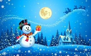 Картинка снег, деревья, снежинки, часы, новый год, дома, шарф, снеговик, new year, олени, trees, snow, houses, ...
