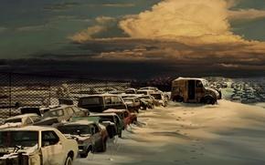 Обои свалка, рисунок, снег, Облака
