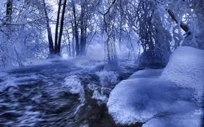 Обои река, лед, зима