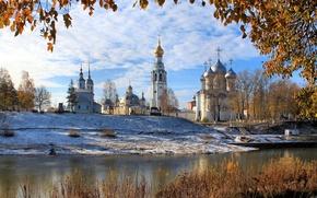 Картинка осень, пейзаж, река, церковь, Вологда