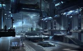 Картинка металл, завод, человек, арт, ангар, помещение, оборудование, Halo 4