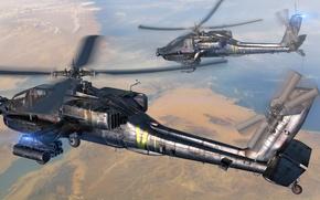 """Картинка небо, земля, арт, боевые, вертолёты, AH-64, ВС США, """"Апач"""", """"Apache"""", основные"""