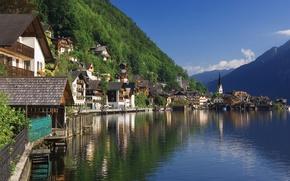 Обои Природа, Дома, Горы, Город, Озеро, Река, Австрия, Халлстат, Холмы, Пейзаж, Леса, Salzkammergut, Austria, Hallstatt