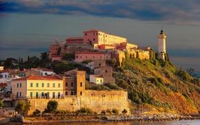 Картинка город, фото, маяк, остров, дома, Италия, Toscana, Portoferraio