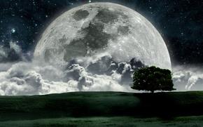 Картинка космос, луна, звёзды, полная луна, большая луна, яркая луна