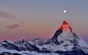 Обои гора, альпы, снег, луна, сумерки, пик