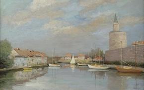 Картинка пейзаж, город, река, дома, картина, лодки, канал, крепость, Марсель Диф, Canal of Rhone near the ...