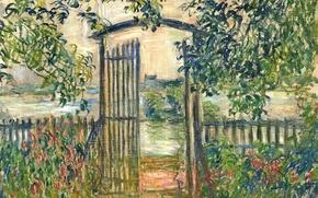 Обои пейзаж, картина, Клод Моне, Садовые Ворота в Ветёе