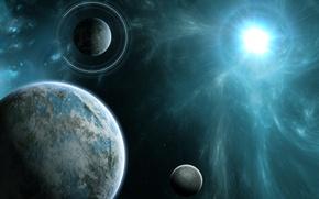 Картинка энергия, космос, звезда, планеты, кольца, арт