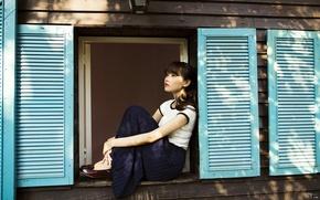 Картинка девушка, настроение, окно, азиатка