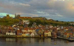 Картинка небо, облака, украшения, закат, мост, город, река, Англия, дома, вечер, Великобритания, river, sky, bridge, sunset, …