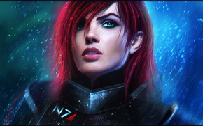 Картинка девушка, лицо, shepard, Mass Effect, art, bioware