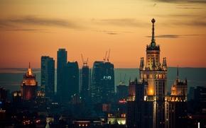 Картинка закат, огни, Москва