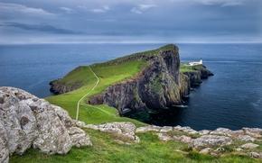 Картинка дорога, море, небо, облака, закат, горы, камни, маяк, залив, шотландия, Scotland, мыс, Neist Point