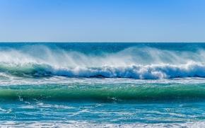 Картинка брызги, океан, волна, горизонт